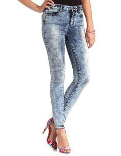 acid wash high-waisted skinny jeans