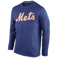 New York Mets Nike Legend Wordmark Long Sleeve Performance T-Shirt - Royal
