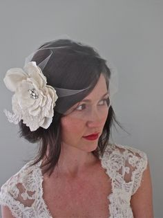 looking into a small tulle birdcage or blusher veil