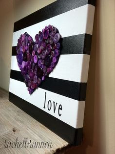 Button art with mickey head instead of heart or minnie bow Diy Canvas Art, Canvas Crafts, Diy Wall Art, Painting Canvas, 3d Wall, Diy Painting, Purple Canvas Art, Wall Decor, Cute Crafts