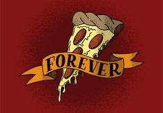 A hand drawn piece of pizza with a banner inspired by traditional americana tattoo art.