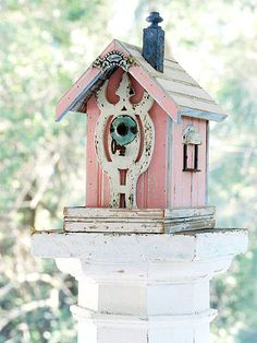 A Salvage Chic Outdoor Room Sweetness. Shabby pink and blue and ivory birdhouse Shabby Chic Birdhouse, Rustic Birdhouses, Birdhouse Ideas, Outdoor Rooms, Outdoor Decor, Behr Paint, Pink Bird, Bird Cages, Bird Feeders