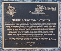 Plaque Honoring the Birthplace of Naval Aviation on NAS North Island, Coronado CA