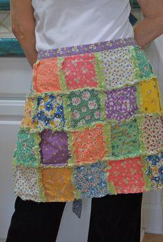 Rag quilt half apron
