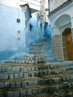 The blue city of Chefchaouen in the north of Marocco. Places Around The World, Oh The Places You'll Go, Places To Travel, Places To Visit, Around The Worlds, Travel Destinations, Beautiful World, Beautiful Places, Stairway To Heaven
