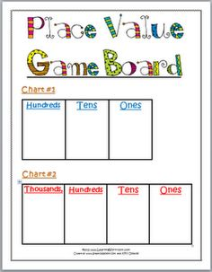 Printable Place Value Game. Center- make individual number cards that will fit in the boxes. Make index cards with the written number or the expanded number and the kids will put the number cards in the box to make the correct number. Example four thousand five hundred thirty-two  or 4,000 + 500+ 30+ 2 = would be shown as 4,532.