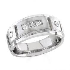 BF1316 - #23860  14 k, white diamond band men's ring 0.36 ct. princess 0.18 ct. rounds (Please call for pricing)