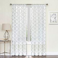 image of Hourglass Rod Pocket Sheer Window Curtain Panel