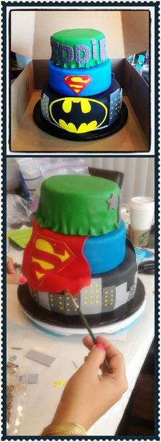 Super heros for little mans Bday!! Cake by WWW.sweetcheeksinc.biz