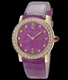 Bulgari Bulgari-Bulgari, Heart of Ruby dial with diamond indexes, on alligator leather strap. Available at Cellini Jewelers NYC