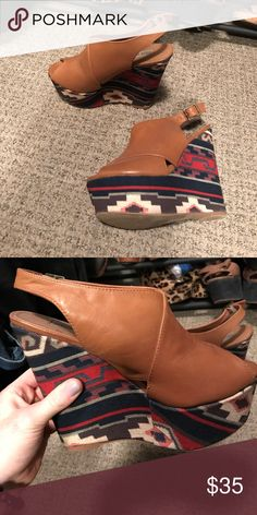 Steve Madden Aztec Wedges Steve Madden wedges, worn twice, great condition Shoes Wedges