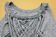 WobiSobi: Weaved Back Tank, DIY Umgestaltete Shirts, Diy Cut Shirts, T Shirt Diy, Diy Clothes Refashion, Shirt Refashion, T Shirt Weaving, Shirt Alterations, Cut Shirt Designs, Diy Clothes And Shoes