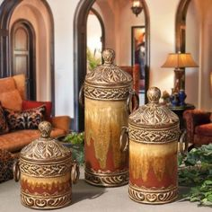 Mediterranean homes – Mediterranean Home Decor Tuscan Style Decorating, Decorating Ideas, Decor Ideas, Tuscany Decor, World Decor, Mediterranean Home Decor, Mediterranean Architecture, Tuscan House, Canister Sets