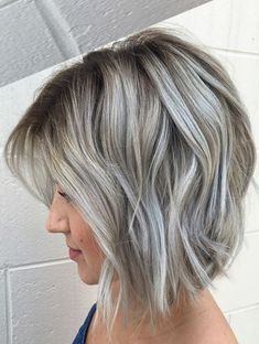 hair highlights blue Silver-gray bob with hint of blue ash-blonde hairstyles. Cool ash as opposed Silver-gray bob with hint of blue ash-blonde hairstyles. Cool ash as opposed Gray Balayage, Hair Color Balayage, Blonde Color, Ombre Hair, Grey Blonde, Blonde Ombre, Ash Blonde Balayage Short, Ash Blonde Bob, Grey Ombre