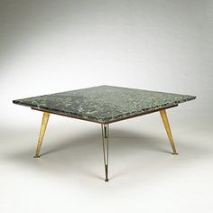 Gio Ponti. coffee table. 1953, marble, brass, walnut. 39¼ w x 39¼ d x 18 h in. estimate: $7,000–9,000. Marked: [Made in Italy] and Bega & Figli, Bologna paper label (supplier of the marble).