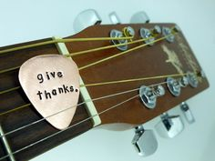 NEW Guitar Pick  hand stamped copper  custom text by SnappinStudio, $15.00
