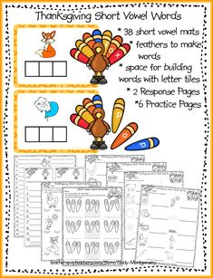Thanksgiving Short Vowel Words printables contains 38 mats just right for Centers or Stations. Response sheets and practice pages included. Thanksgiving Worksheets, Thanksgiving Writing, Letter Organizer, Happy Turkey Day, Letter Identification, Teacher Helper, Word Building, Short Vowels, Writing Activities