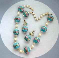 Venetian Wedding Cake Bead Necklace and Matching by thejewelseeker, $115.00