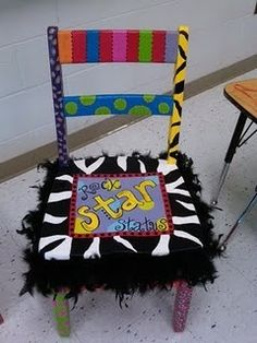 rockstar status chair. this would be cool to have in a classroom for birthdays or star of the week :) education
