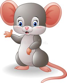 Illustration about Illustration of Cartoon mouse waving hand. Illustration of farm, happiness, child - 78542136 Art Drawings For Kids, Cute Animal Drawings, Cartoon Drawings, Easy Drawings, Animal Sketches, Cute Images, Cute Pictures, Baby Animals, Cute Animals