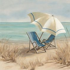 Carol Robinson Premium Thick-Wrap Canvas Wall Art Print entitled Summer Vacation II, None Beach Canvas Wall Art, Beach Artwork, Canvas Art, House By The Sea, Beach Scenes, Beach Chairs, Coastal Style, Modern Coastal, Beach Pictures