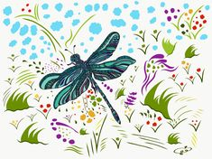 💞 Happiness is always with you, says the dragonfly, happy to be here with you. tech: painted with my fingers Dice, Adobe Illustrator, Fingers, Art Work, Rooster, Digital Art, Spirituality, My Arts, Happiness
