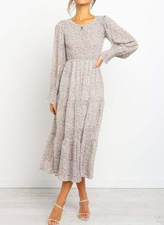 Floral Printed Shirred Long Sleeve Midi Dress – RosyFairy Description:-Fashion style-Long sleeves-Floral print-Tiered Skirt-Partially lined-Pull on style-One color-Material: polyester-Cold hand wash-Length: Tee Dress, Collar Dress, Ruffle Dress, Dress Skirt, Dress Up, Swag Dress, Long Sleeve Midi Dress, Floral Midi Dress, Casual Midi Dress