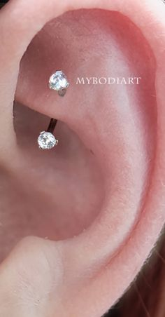 16G Steel Daith Earring Eyebrow Ring and Rook Piercing Jewelry Double Gem CZ Barbell Surgical Stainless