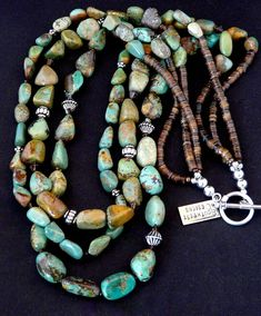 3-Strand Green Turquoise Nugget Necklace with Swarovski Crystal, Olive Shell Heishi and Sterling Silver