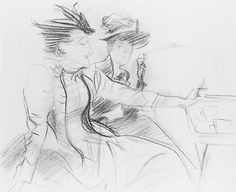Two Women in a Cafe Artist: John Singer Sargent (American, Florence 1856–1925 London) Date: late 1880s Medium: Charcoal on off-white wove paper