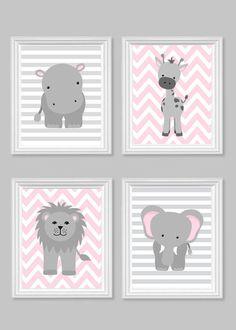 Zoo Nursery Decor Gray and Pink Nursery Girl by SweetPeaNurseryArt
