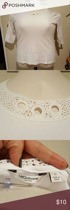 Liz Claiborne crochet neck 3/4 sleeve top 100% cotton three-quarter sleeve top with crochet neckline. Neckline has 3 open holes in the front that are formed around rings. Brand new without tags and never worn. Liz Claiborne Tops Tees - Short Sleeve