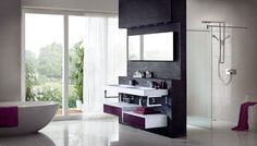 Geo integra with chrome brackets is the ultimate in boutique chic with spacious geo store drawers in a combination of crisp white gloss and vibrant aubergine gloss Bathroom Fitters, Kitchen Fitters, Bathroom Showrooms, Bathrooms, Fitted Bathroom Furniture, German Kitchen, Design Your Kitchen, Showroom Design, Bathroom Wallpaper