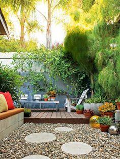 jardin paysagiste, gravier et pas japonais