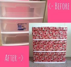 Use FABRIC to cover plastic drawers for an inexpensive upgrade Plastic Drawer Makeover, Plastic Dresser, Plastic Drawers, Plastic Bins, Plastic Storage, Craft Organization, Craft Storage, Organizing, Home Crafts