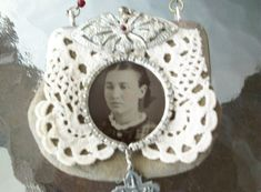 Altered Coin Purse/Tintype Necklace, Repurposed necklace, Tintype Necklace,Mixed Media Jewelry, Artisan Jewelry, Vintage Necklace
