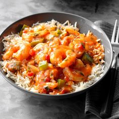 "Spicy Shrimp with Rice Recipe -No one will doubt that ""light"" cooking can be tasty when you put a helping of this zippy shrimp in front of them. The seafood is seasoned just right with garlic, pepper and hot sauce. Hot Sauce Recipes, Spicy Recipes, Shrimp Recipes, Copycat Recipes, Cooking Recipes, Bbc Recipes, Dump Recipes, Asian Recipes, Appetizer Recipes"