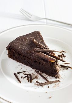 best chocolate cake served on a white plate