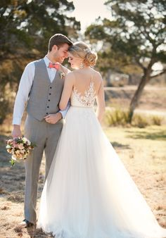 A-line wedding dress with illusion neckline and embellished lace I Style: D2085 I by Essense of Australia I http://knot.ly/6495B0Tuc
