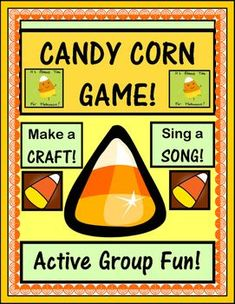 "ACTIVE GAME, CRAFT, and SONG! Make a ""Mr. Candy Corn"" Craft, and play a funny Group Game with Directed Movement. Learn a simple 4-note Song about colors, triangles, and eating candy corn! Three Sight Word Color Cards are included. This funny game ends with eating a piece of candy corn, of course! (9 pages) Halloween Fun from Joyful Noises Express TpT! $"