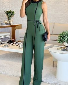 Wide Leg Jumpsuit Summer O Neck Green Sleeveless Jumpsuit Vacation Elegant Long Playsuit Office Lady Vintage Overalls Long Jumpsuits, Jumpsuits For Women, Fashion Jumpsuits, Backless Jumpsuit, Casual Jumpsuit, Elegant Jumpsuit, Gold Jumpsuit, Professional Outfits, Romper Outfit