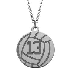 Sterling Silver Personalized Volleyball Disc Necklace (51), Women's, Size: 18 Inch, White