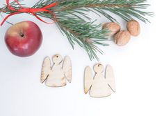 set of 25 wooden angel shapes Christmas tree decor gift packaging winte holiday blank shape table tag set, DIY unfinished laser cut cutout