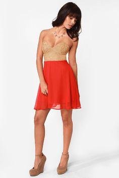 Pretty Bustier Dress - Color Block Dress - Strapless Dress - $37.50