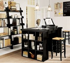 Perfection- office or craft space- white and beige basics, black accessories, pendant lighting, bookshelves, storage desk, stools, lots of workspace