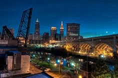Over the Cuyahoga Before Sunrise - The skyline of the city of Cleveland, Ohio and the Veterans Memorial Bridge overlooking the Cuyahoga River.