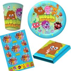 Moshi Monsters party pack.  Complete supplies for a birthday party - napkins, plates, cups and tablecloth. #bttMoshiMonster