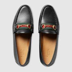 Gucci Women - Leather horsebit loafer with web - 384874A3N201060