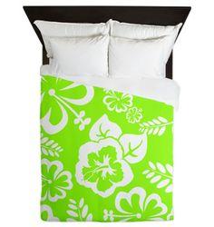 Lime Green Tropical Flowers Queen Duvet
