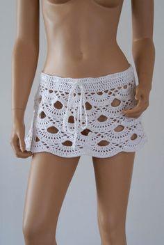 White cover up wrap crochet bikini skirt swimsuit size by Racoona Crochet Skirt Pattern, Crochet Skirts, Crochet Clothes, Bra Pattern, Beach Crochet, Crochet Bikini, Knit Crochet, Crochet Shell Stitch, Crochet Toddler